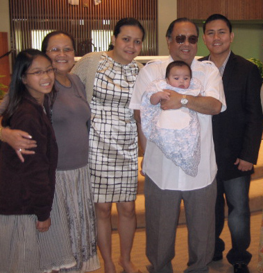 Grandpa Ben at Rafael's baptism. Also in photo (2nd from left) is my beautiful classmate at STS